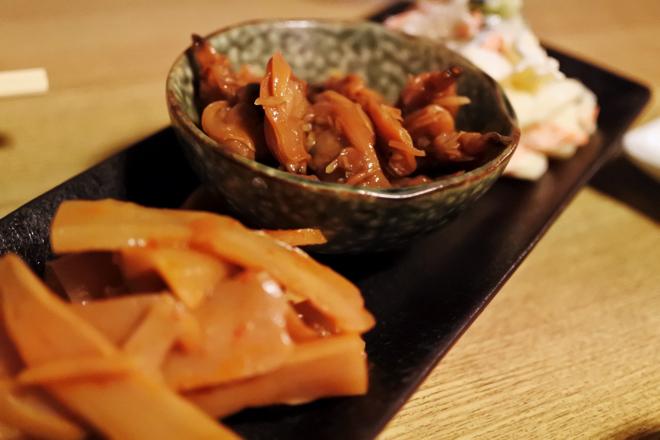 おつまみ3種(マカロニサラダ・あさりの佃煮・ピリ辛メンマ)