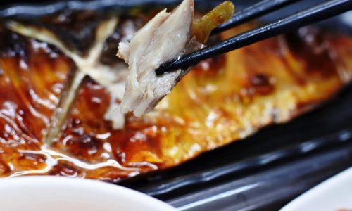 釧路産特大鯖の甘塩焼き定食