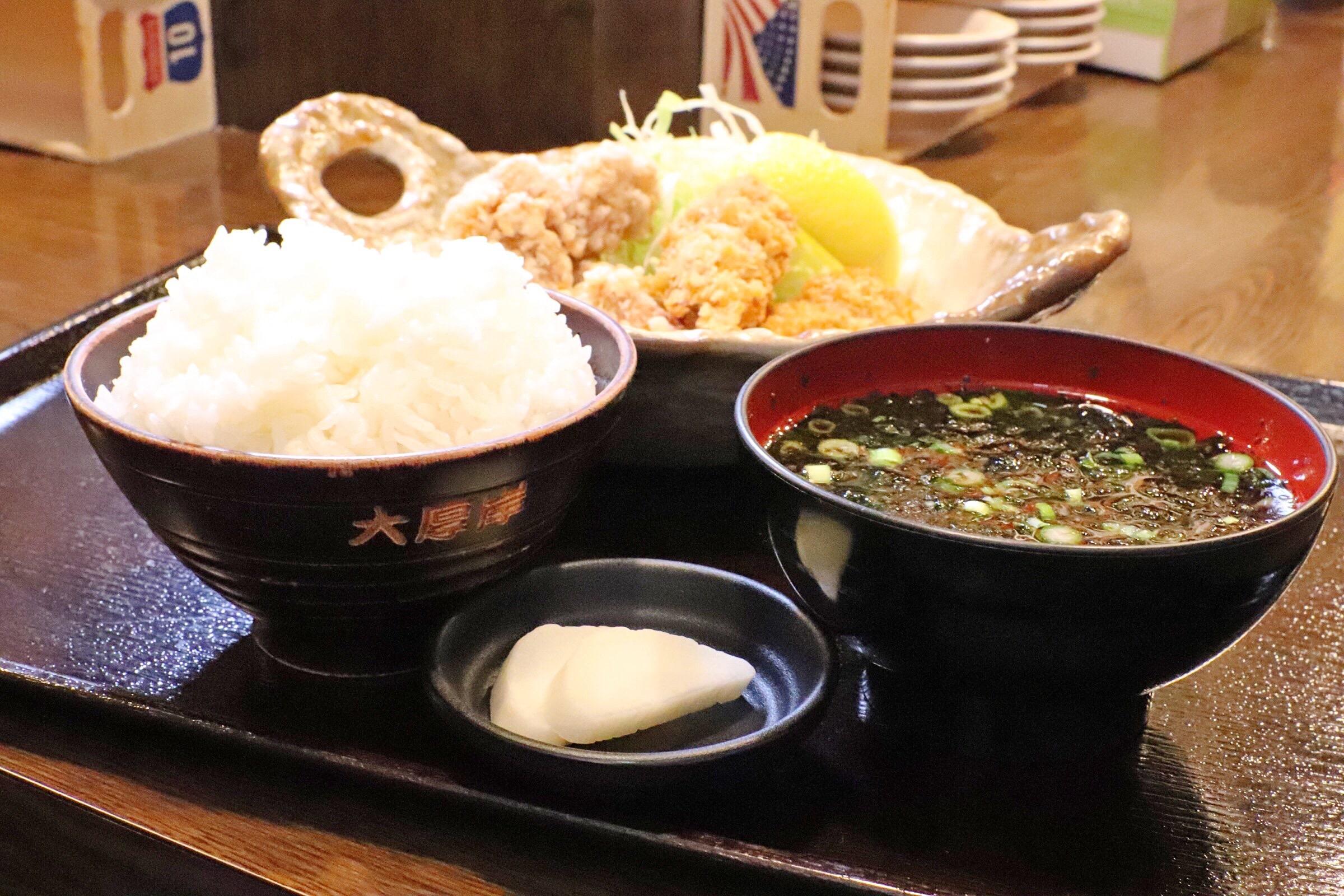 塩ザンギカキフライ定食